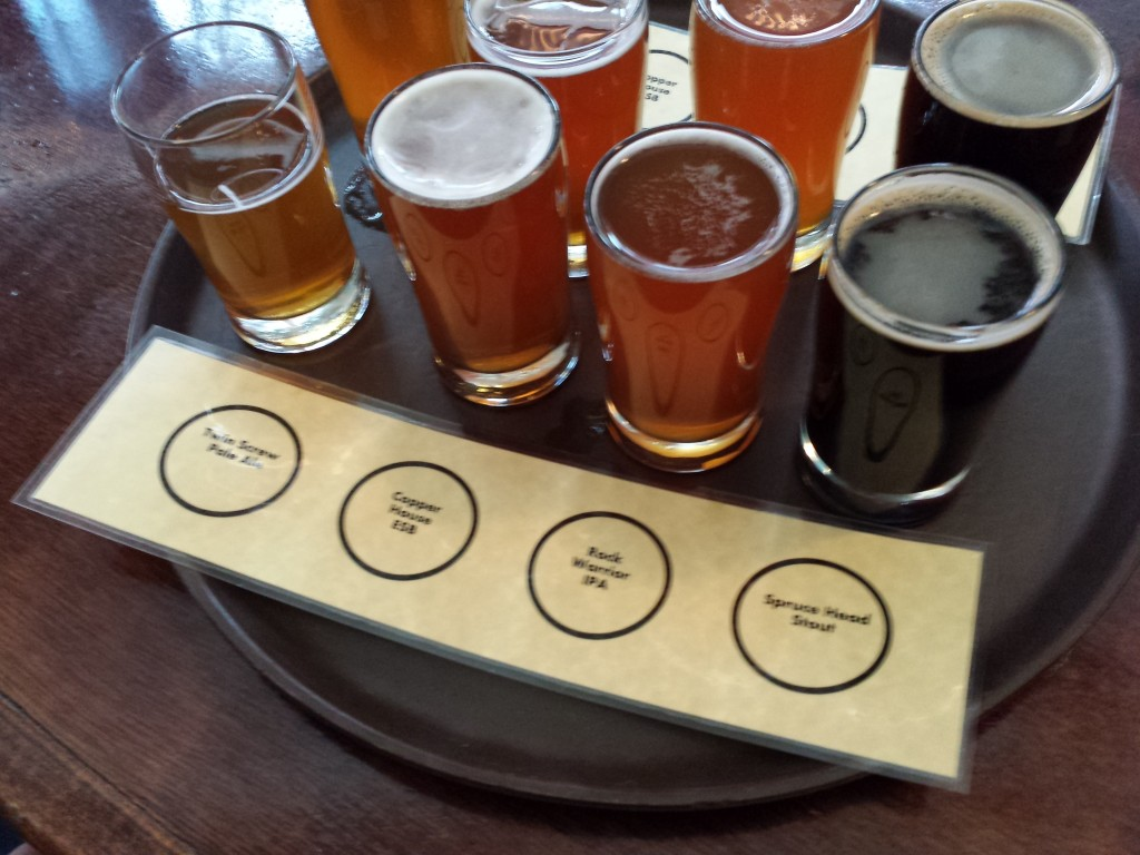 Beer Flight at Rock Harbor brewery in Rockland
