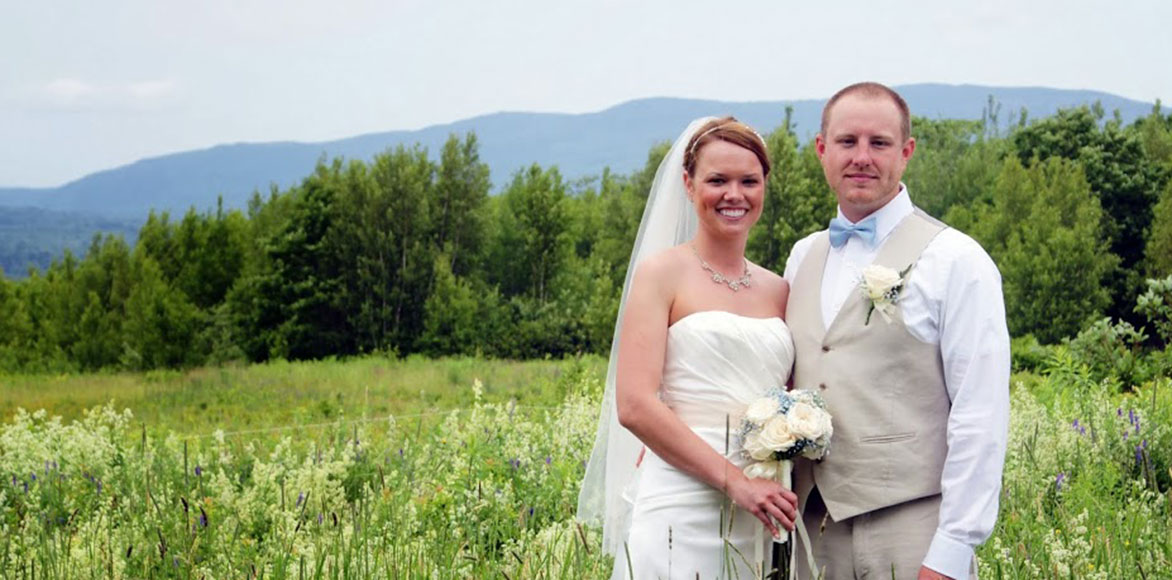 Bride and Groom at a Maine Wedding