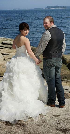 Maine Elopements - Outdoor wedding bride and groom