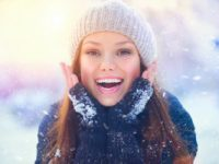 Winter fun in Maine - Woman Outside in the Winter Smiling