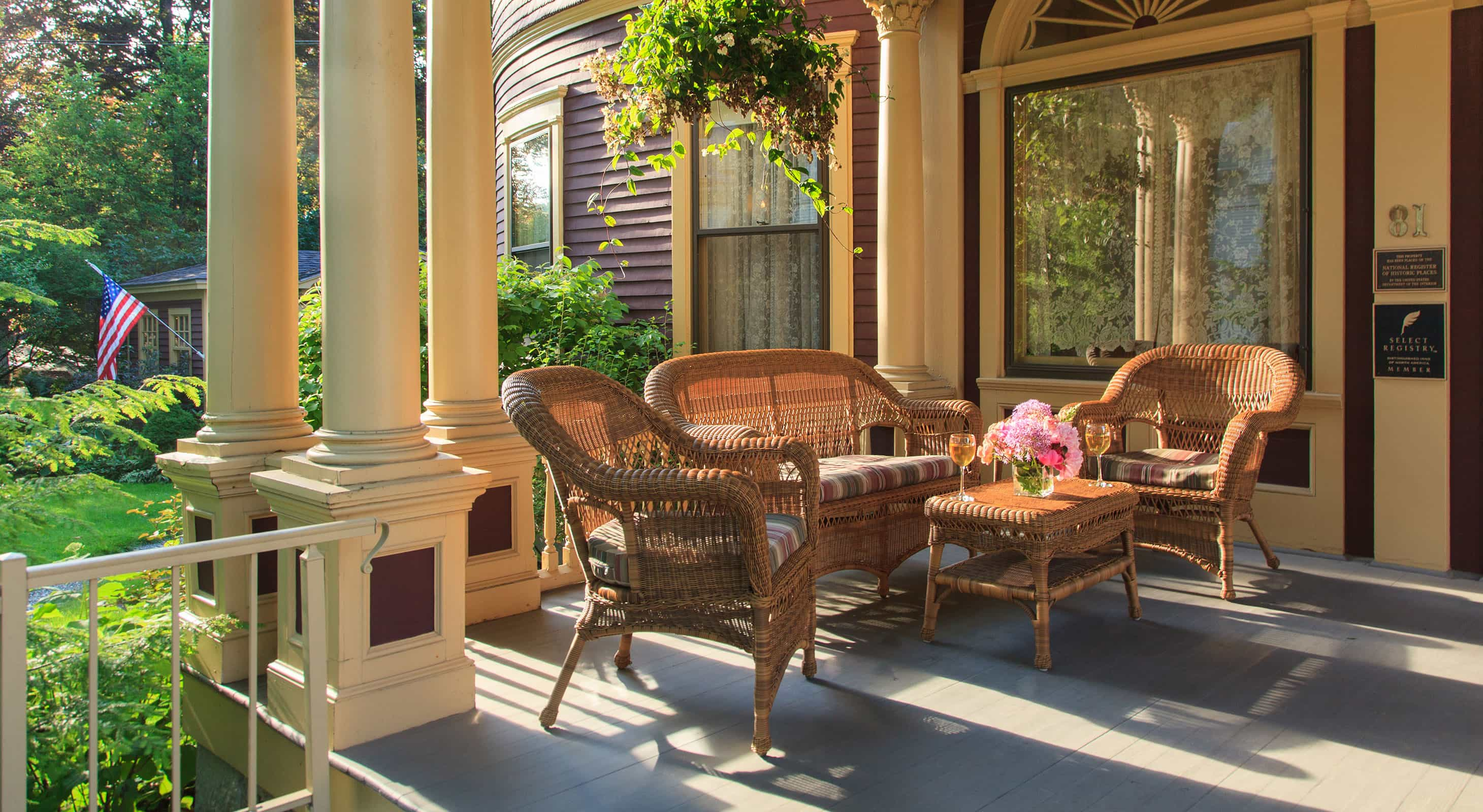 Sitting area outside the Berry Manor Inn