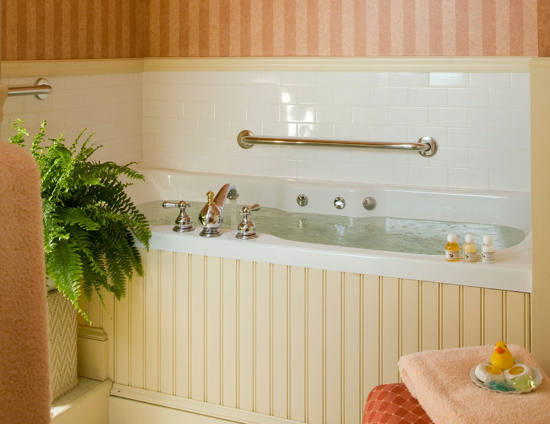 Full, warm bathtub with soaps and decorative fern