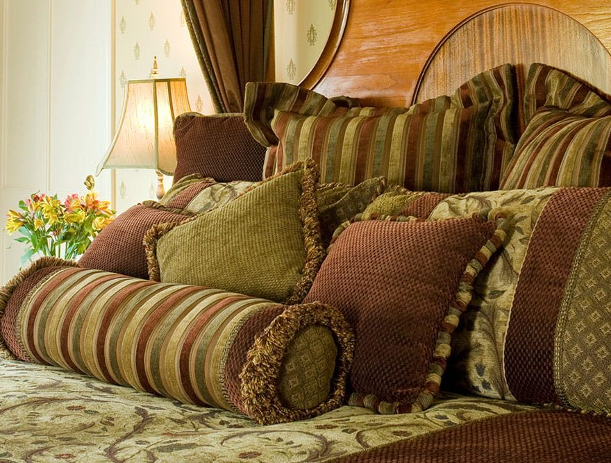 Plush Pillows on a bed