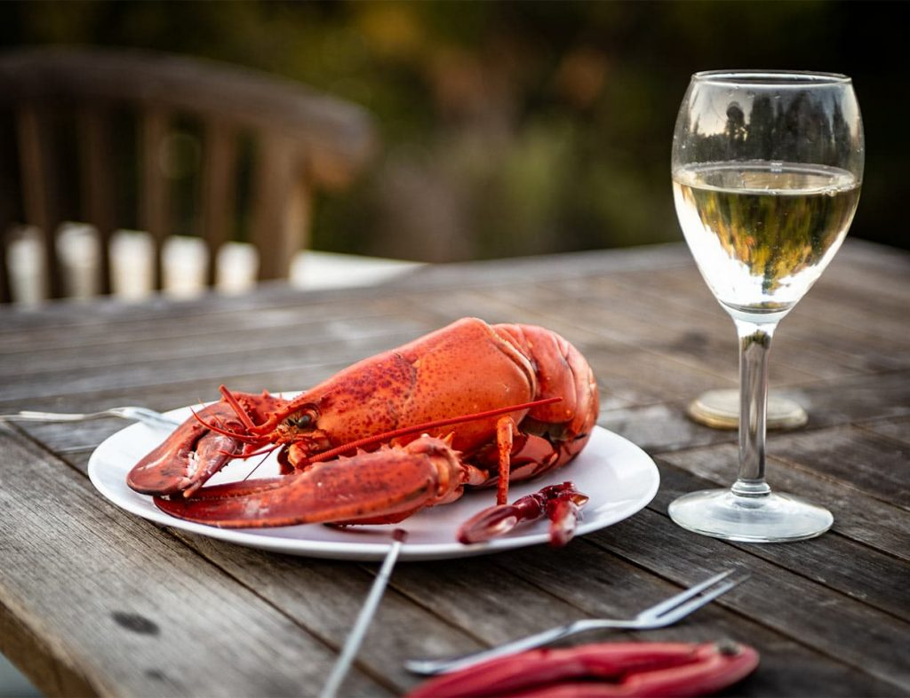 Fresh boiled lobster on a plate outdoors with a glass of white wine