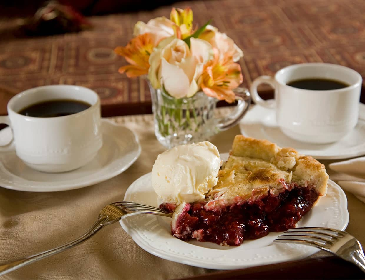 Pie with ice cream and coffee