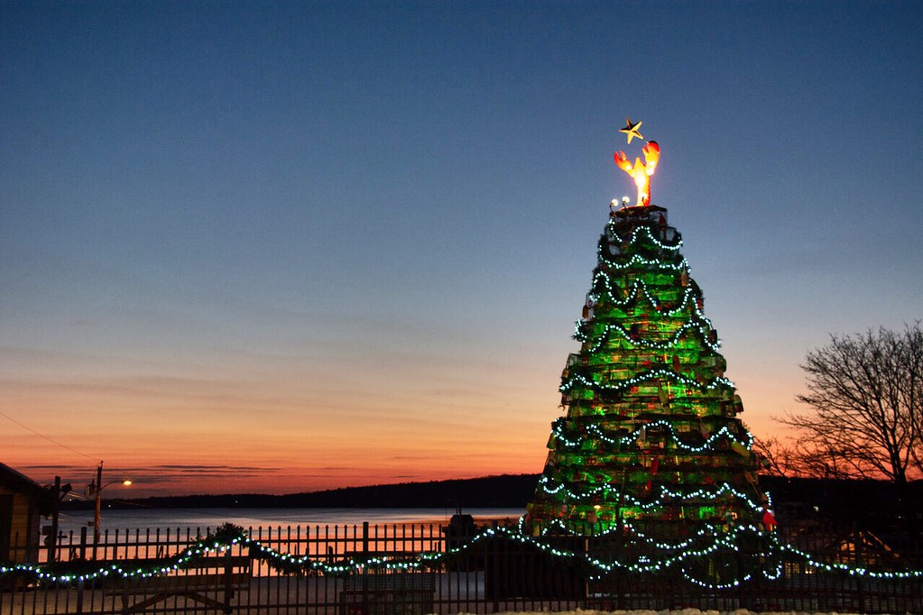 lighted Christmas tree at sunset over the ocean