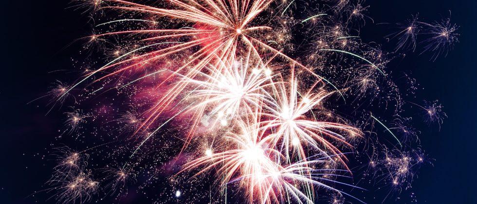 brilliant display of fireworks against a dark sky